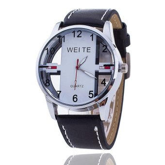 Cocotina Fashion Brand New High Quality Men Watches Relogio male Pu Quartz Watch Clock Hot Sale ?a???? Black & White
