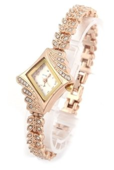 Cocotina Rhombic Quartz Rhinestone Crystal Wrist Watch - White - picture 2