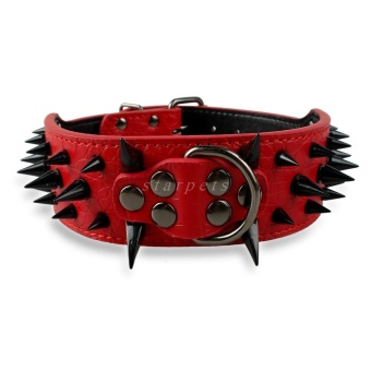 Cool Sharp Spiked Studded PU Leather Dog Collar For Medium LargeBreeds Pitbull Mastiff Boxer Bully 2inch Width XS (Red) - intl