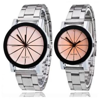 Couple Black Stainless Watch (silver) - 2