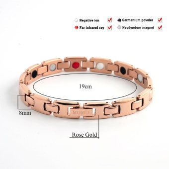 Couple Design Stainless Steel Germanium Nagative Ion MagneticHealth Care Stainless Steel Energy Bracelet Rose Gold Plated 10112- intl - 5