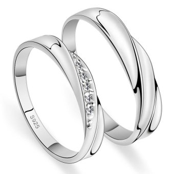 Couple Rings Jewellry 925 Silver Adjustable Lovers Ring Jewelry E016 - intl - 5