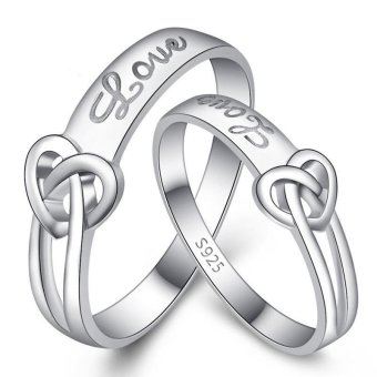 Couple Rings Jewellry 925 Silver Adjustable Lovers Ring Jewelry E016 - intl - 3