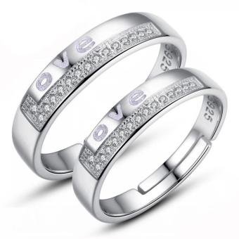 Couple Rings Jewellry 925 Silver Adjustable Lovers Ring Jewelry E028 - intl - 5