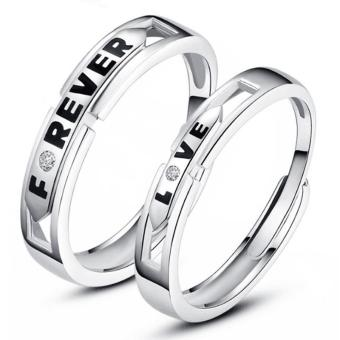 Couple Rings Jewellry 925 Silver Adjustable Lovers Ring Jewelry E028 - intl - 4