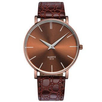 Couple Ultrathin Brown Leather Strap Watch 6110 - 3