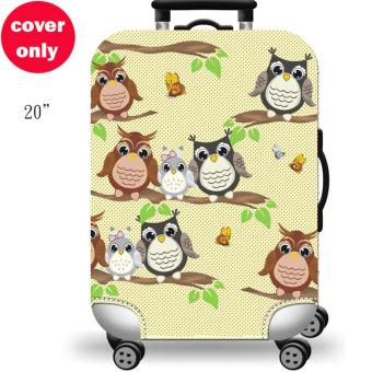 (Cover only) Elite Luggage Cover / Suitcase Cover ( Forest Owl)-small