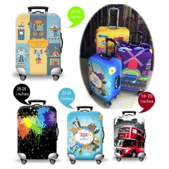 (Cover only) Elite Luggage Cover / Suitcase Cover ( Stamp ) - large - 2