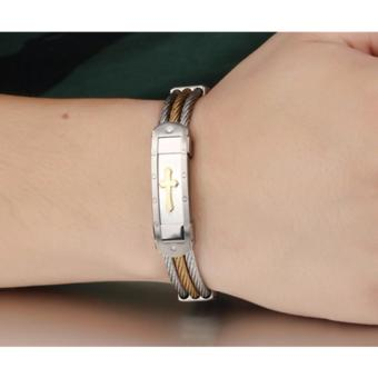 Cross Jesus Premium Stainless Steel Bracelet (Medieval GOLD) (A2) - 3