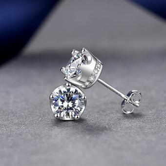 CROWN fashion female Japanese and Korean style elegant silver earrings silver stud