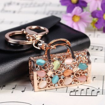 Crystal Pierced Package Key Chains Ring Holder Fashion Gift Rhinestone Keyring Keychain Handbag Charm Pendant Gold (Intl) - picture 2