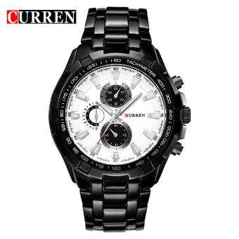 CURREN 8023 men watches quartz watch waterproof black white gold - 2
