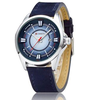 Curren 8155 Men Outdoor Blue Leather Waterproof Quartz Wrist Watch - intl