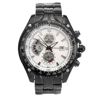 CURREN Men's Stainless Steel Strap Watch (Black White)