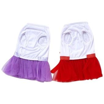 Cute Heart Pattern Pet Bubble Skirt, Size: S, Back Length: 20cm,Chest: 32cm(Purple) - intl - 3