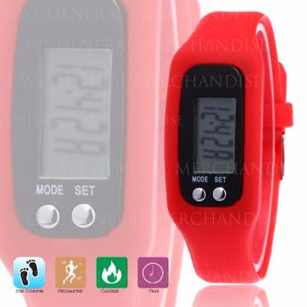 CWL Digital LCD Pedometer Bracelet Walking Distance Calorie Counter Watch (Red) - 2