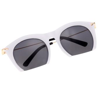 Cyber Korean Women Retro Sunglasses Large Half-frame Sun Glasses ( White )