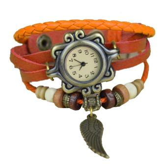 Cyber Quartz Synthetic Leather Bracelet Women Wrist Watch (Orange)
