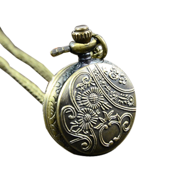 Cyber Retro Bronze Women Pocket Watch Necklace Pendant Chain Clock - picture 2