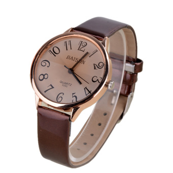 Cyber Synthetic Leather Strap Women Quartz Wrist Watches (Brown)
