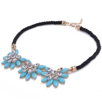 Cyber Women Crystal Flower Necklace Choker Bib Collar Chain Blue