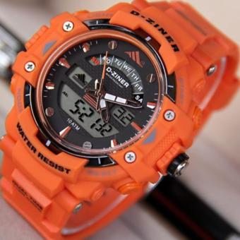 D-ZINER DZ-8129 Black Resin Dual Time Mens Sports Analog Digital Watch (ORANGE) Price Philippines