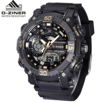 D-ZINER DZ-8168 BLACK RESIN DUAL TIME MEN'S SPORTS ANALOG DIGITAL WATCH (GOLD/BLACK) Price Philippines