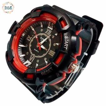 D&D C804 Fashion Men Black Silicone strap Sport Quartz Wrist Watch