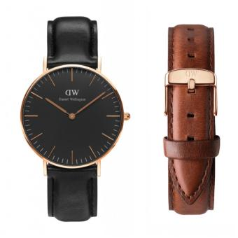 Daniel Wellington Classic Black Sheffield 36mm Rosegold Watch with St. Mawes Strap Set
