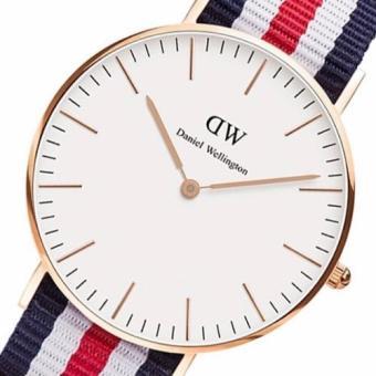 Daniel Wellington Classic Canterbury 40mm Rose Gold Blue Red WhiteNato Strap Watch - 3