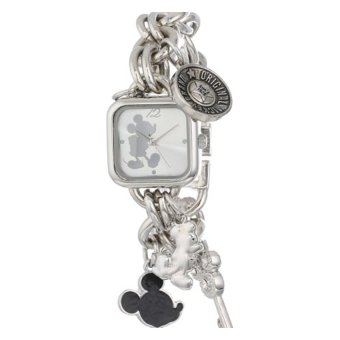 Disney Women's MK2057 Mickey Mouse Silver Sunray Dial CharmBracelet Watch - intl