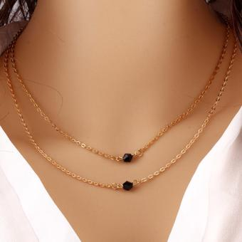 Double-layered Chain Choker with Black Beads Gold Dipped Necklace 7g