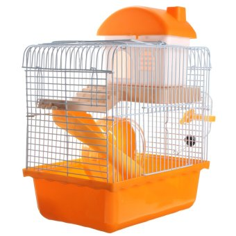 Dwarf Hamster Gerbil Mouse Small Pet Cage 2 Storey Levels Floor Wheel House Orange Random color - intl Price Philippines