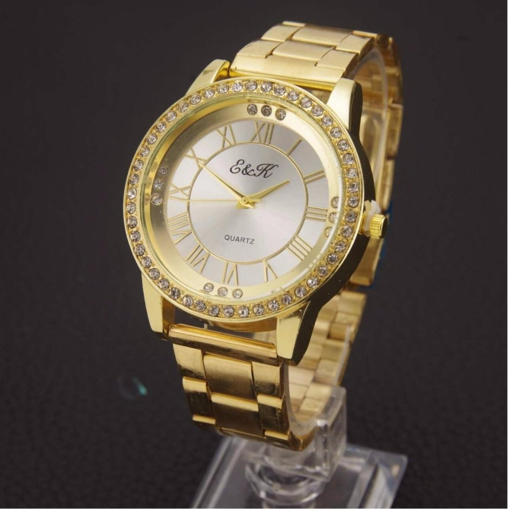Philippines | E&K 06 Shining Women Gold Steel-belt Watch with Rose