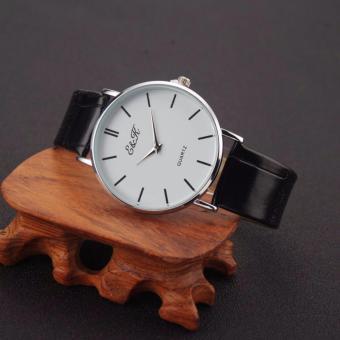 EK25 Couple's Black Leather Strap Wristwatch With Arabic Numerals - 2