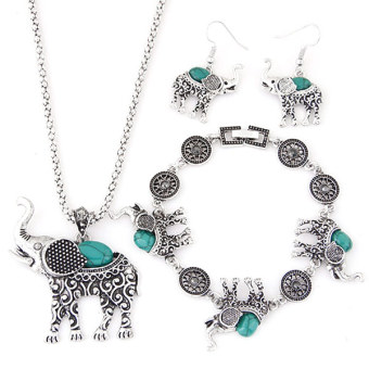European and American style metal inlaid turquoise bracelet necklace earrings
