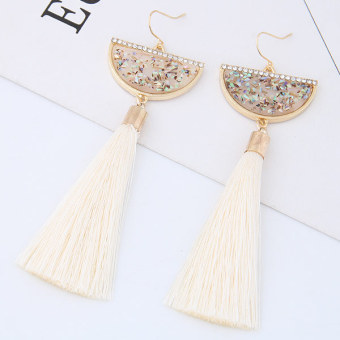 European and American tassled exaggerated fan-shaped earrings
