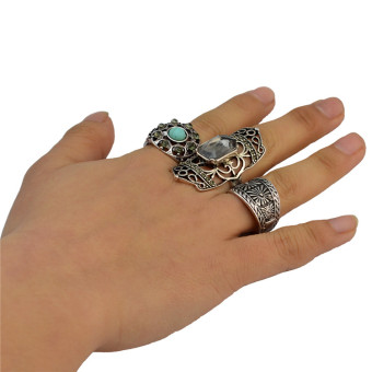 European and American turquoise ring (Silver)