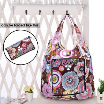 Everyday Deal Klein Travel Women Eco Shopping Bag Tote Handbag Foldable Reusable Portable Casual Storage Pouch (Flowers)