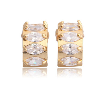 Exquisite Semi-circle Crystal Earring Woman Ear Stud 18K Gold Filled