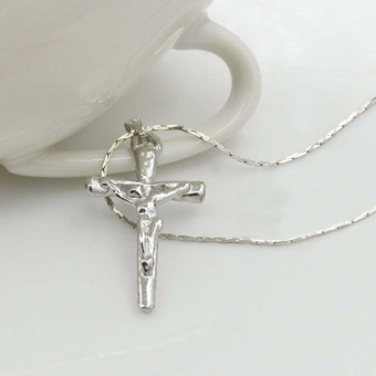 Fancyqube Jesus Cross Crucifix Pendant Necklace Men's Jewelry RetroNecklaces For Male Silver - intl