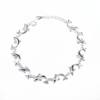 Fancyqube Women S925 Pure Silver Plated Pure Dolphin Bracelet ChainBangle - Silver