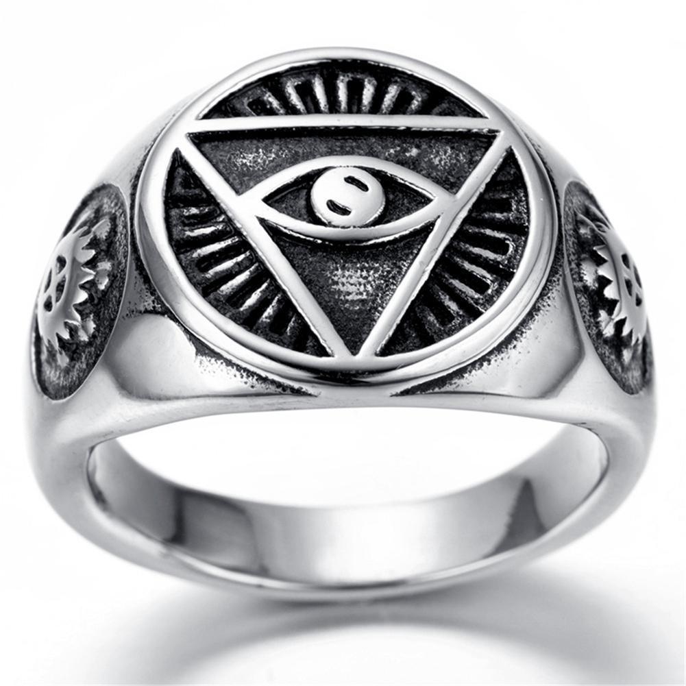 Stainless Steel Model Cincin Pria Simpul Signet Celtic Hitam Silver Blue Sapphire Ring Source Fangfang Mens 316l Jewelry Illuminatieye Pyramid