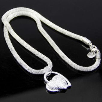 Fashion 925 Sterling Silver Double Heart Pendant Necklace Chain Women Jewelry UK - 5