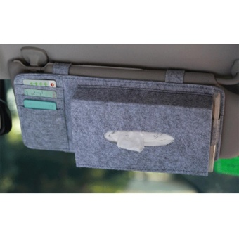 Fashion Car Styling Case Sun Visor Type Wool Felt Hanging Tissue Box Car Napkin Holder Vehicle Accessories Pocket Organizer Pouch Card Storage - intl - 2