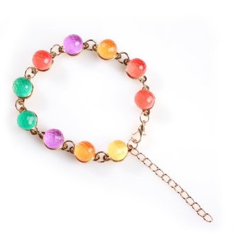 Fashion Colourful Crystal Rainbow Candy Color Ball Beaded Strand Bracelet - Intl - picture 2