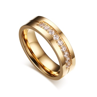 Fashion Couple Rings Gold Plated Ring for Women Man Cubic ZirconiaCZ Diamond Wedding Band Stainless Steel Romantic Jewelry - intl - 5