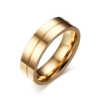 Fashion Couple Rings Gold Plated Ring for Women Man Cubic ZirconiaCZ Diamond Wedding Band Stainless Steel Romantic Jewelry - intl - 4