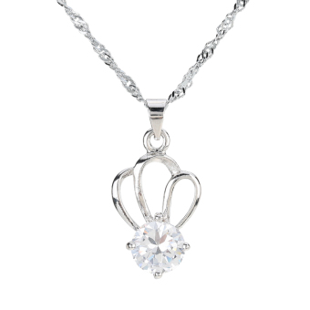 Fashion Crown Pendant Crystal Rhinestone Zircon Necklace Chain Jewelry Trinket for Woman Girl (Intl) - picture 2