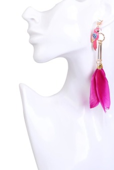 Fashion Exotic National Style Rose Red Feathers Parrot Pendant Earrings - picture 2